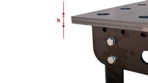 """SST fix 80/16 S – Höhe der Arbeitsfläche """"h"""" - siehe Tabelle"""
